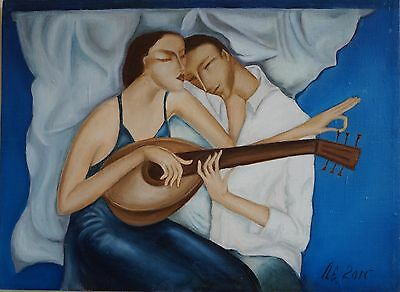Original hand oil painting MELODY FOR TWO signed by artist Lena Lesoklinska