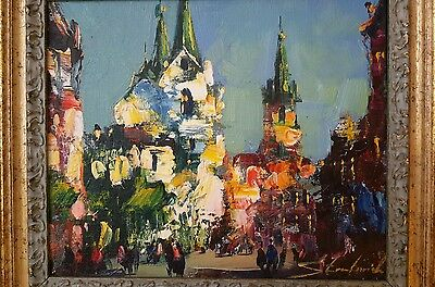 Original hand oil painting Lublin by Walery Stratovich