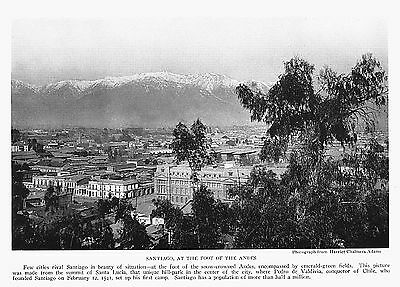 1922 Santiago at the Port of the Andes Santa Lucia~Photogravure Print
