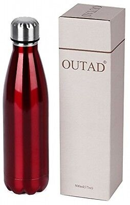 OUTAD Ultimate Vacuum Insulated, Double Walled Stainless Steel Water Bottle RED