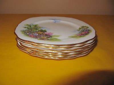 "set of 6 ROYAL VALE BONE CHINA COTTAGE TEA PLATES 6.25"", used        (1.0/28B)"