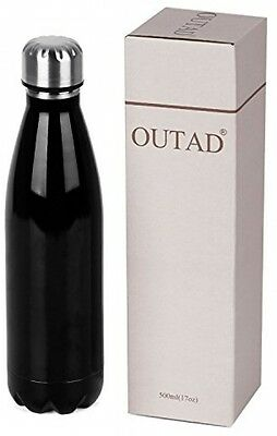 OUTAD Ultimate Vacuum Insulated Double Walled Stainless Steel Water Bottle Black