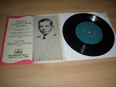 "Temple Church Choir London 7"" Vinyl Ps Hear My Prayer Ernest Lough Hmv 1957 Ex """