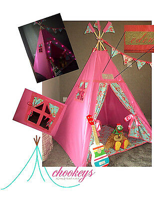 Children's teepee/play tent pink floral + soft mat + bunting+fairy lights+name