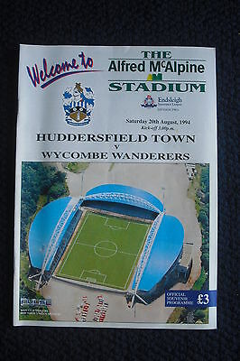 Programme Huddersfield Town V Wycombe Wanderers 1994 - First Game At New Stadium