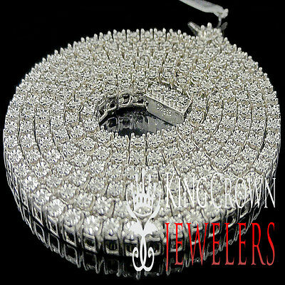 Mens Genuine Diamond White Gold Finish 1 Row Necklace Chain 3.5 MM 24 Inches