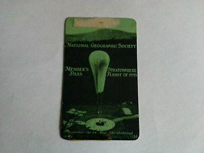 1934 national geographic members pass for flight of 1935 stratosphere bowl s.d.