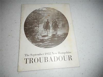 New Hampshire Troubadour Magazine / Booklet September 1932  Free Ship