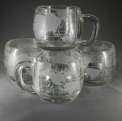 4 Nestle Globe Coffee Cups Vintage World Etched Design Glass Mugs Advertising