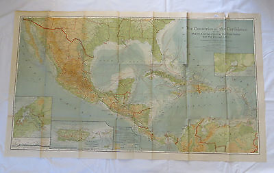 National Geographic Map Countries of the Caribbean 1922 (F15)