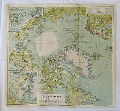 National Geographic Map The Arctic Regions 1925 (F16)