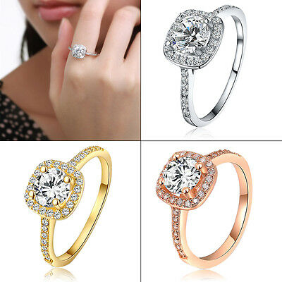 Fashion Women Plated 925Sterling Silver Rose Gold Jewellery Wedding Diamond Ring