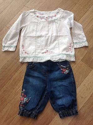 Girls Monsoon Bundle, Embroidered Blouse & Jean Jodhpurs Outfit, Age 2-3 Years