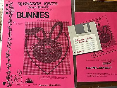 1987 Swanson Knits Bunnies Patterns w/Disk Brother Knitting Machine 10 designs