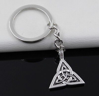 New Silver plated Irish Celtic Knot Triangle Key Ring Pendant