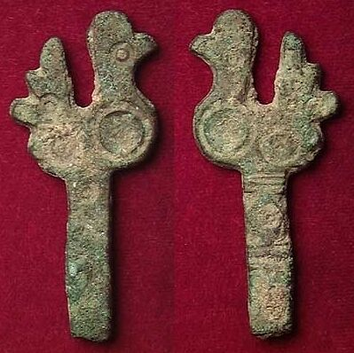 FORVM Roman Bronze Handle with Bird 4th-5th Century AD Barbarian Influenced