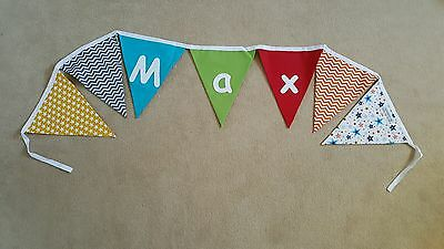 Personalised Nursery Boys Bunting Colourful Max