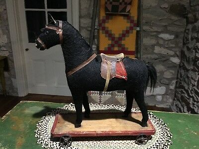 Antique Mohair Pull Toy Horse