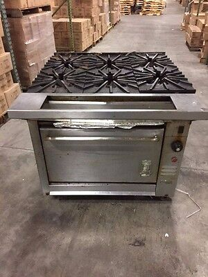 "Montague (USED) Heavy duty 6 burner -36"" wide Gas range w/conv. oven base"