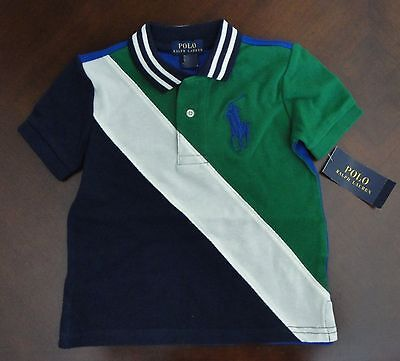 NWT Ralph Lauren Boys S/S Banner Striped Big Pony Mesh Polo Shirt 2/2t 24m NEW
