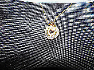 """AAA Simulated Diamond Heart Pendant with Chain 18""""in yellow gold overlay pouch"""