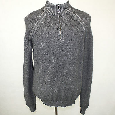 Glen Lyon 2-Ply 100% Cashmere Sweater Gray Zipped Mock Neck Long Sleeves Large