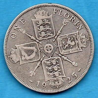 1925 One Florin Coin. King George V. Silver 2/-. Two Shillings. Scarce Date.