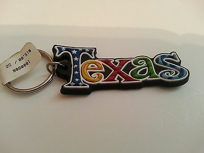 Texas  Keychain Rubber Blue Yellow Red Green
