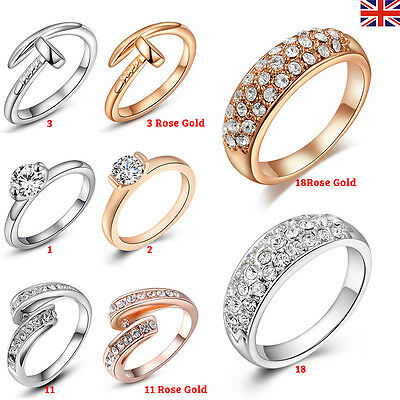 Fashion Women Plated 925 Sterling Silver Jewelry Filled Wedding Engagement Ring