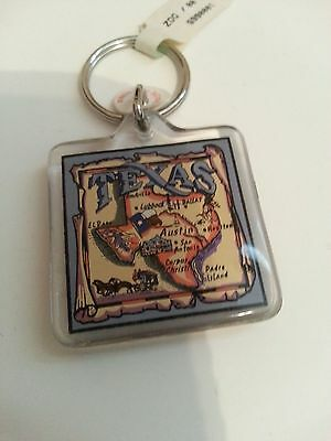 Texas  Keychain Clear Plastic with State Map