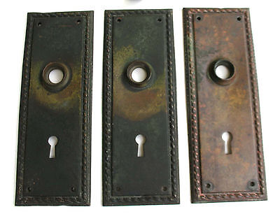 Set of 3 Antique RICHMOND RHCo solid cast brass mortise Lockset Plates