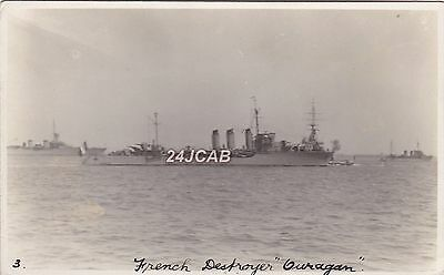 "French Navy Real Photo. ""Ouragan"" Destroyer. Transferred to Polish Navy. c 1924"
