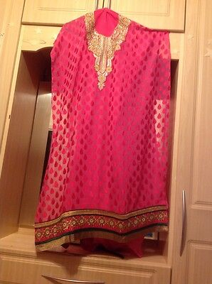 Vinay Fashion Kameez Shalwar Pink Chiffon Fabric Suit Unstitched Bridal Bollywod