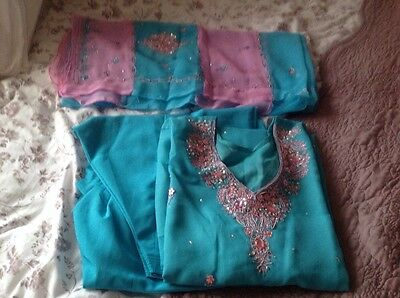 Shalwar kameez 3 Pc Size 8  Embroidered With Scarf/Dupatta Also Embroidered.