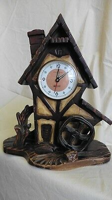 VINTAGE WOODEN MEIKO TOKEI WATERMILL ALARM AND LAMP CLOCK c1950s