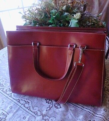 Franklin Covey Laptop Bag Case Tote Briefcase Red Leather EUC