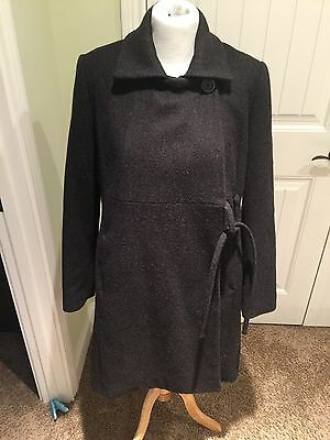 Women's Gap Maternity Long Black Wool Coat Size M Medium EUC
