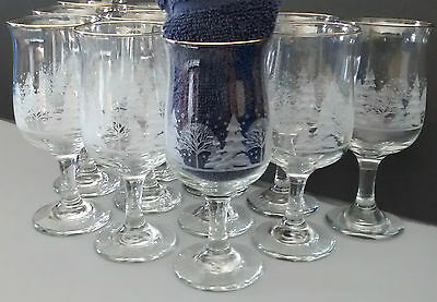 """12 Arbys Christmas 7"""" Water Wine Glasses Goblets Frosted Trees Holiday Gold Trim"""