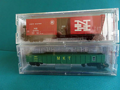 Two Micro Trains Wagons :  New Haven Box & MKT Gondola