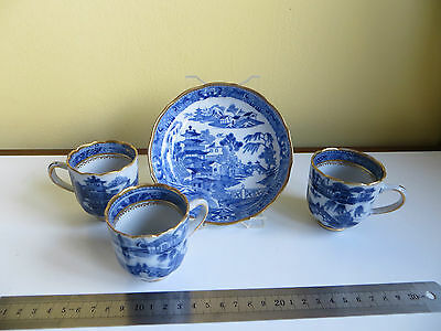 Chinese? Blue White & Gold 3x Tea Coffee? Cups & Saucer Willow Pattern Antique?