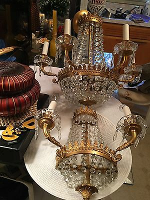 """Antique Vintage Tiara Crystal Chandelier With Matching Sconce 23"""" X 20W"""