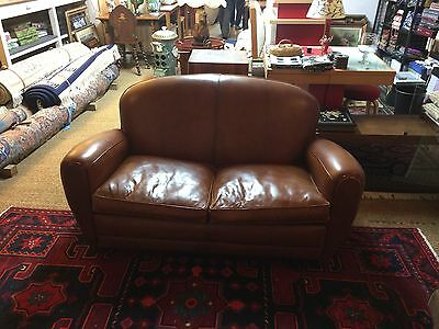 Antique, Vintage, French, Leather Sofa