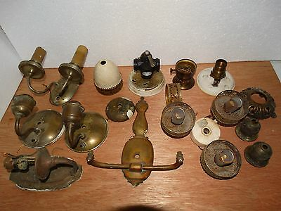 Lot Antique Lamp Sconces Brass Parts Repair
