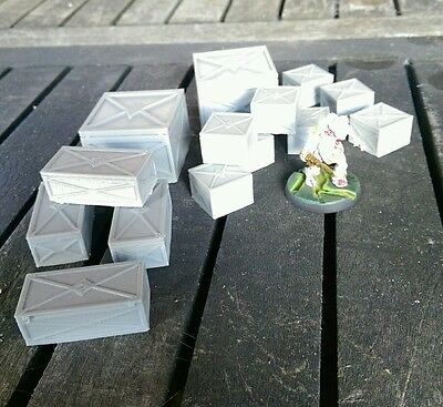 SCENERY 14 28mm scale metal crates - Ideal for 40K, Necromunda, Malifaux etc..