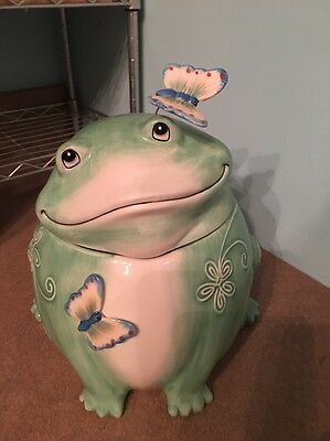 Display Quality Fitz and Floyd Living Color Frog w/ Butterflies Cookie Jar