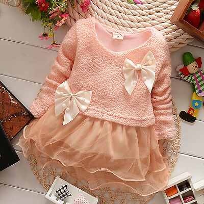 New Baby Girls Dress Knit Sweater Tops Lace Bowknot Dresses Clothing 12-18Months