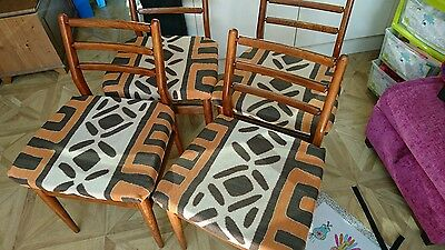 4 Mid Century Teak Dining Chairs by Scandart