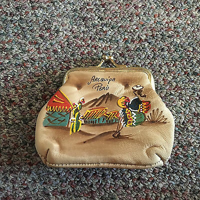 Painted LEATHER Souvenir COIN PURSE - AREQUIPA, PERU. Lined