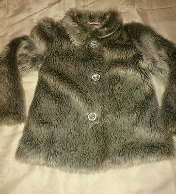 girls faux fur grey coat age 6-7 years