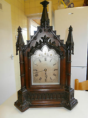 London Gothic Oak Triple Fusee Two tune 8 Bell Bracket Clock